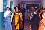 Suparna Sankaran: My mother,in  blue sari  with famous Tamil writer Anuradha Ramanan at a Mahila Samaj function