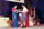 Suparna Sankaran: Prize Night, receiving prize from the then principal Mrs Lathika Das
