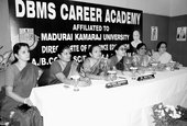 Faculty members of DBMS Career Academy address a news meet on the school premises. Picture by Bhola Prasad