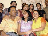 Tanushree's family in Jamshedpur celebrates her achievement. Picture by Uma Shankar Dubey