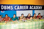 K Uma (centre), principal of DBMS Career Academy, with faculty members in Jamshedpur on Friday. (Bhola Prasad)