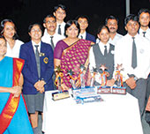 Winning DBMS team members with principal Rajani Shekhar. (Bhola Prasad)