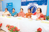Officials from DBMS Career Academy during the news meet in Jamshedpur on Monday. Picture by Bhola Prasad