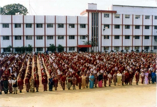 Assembly on school grounds.